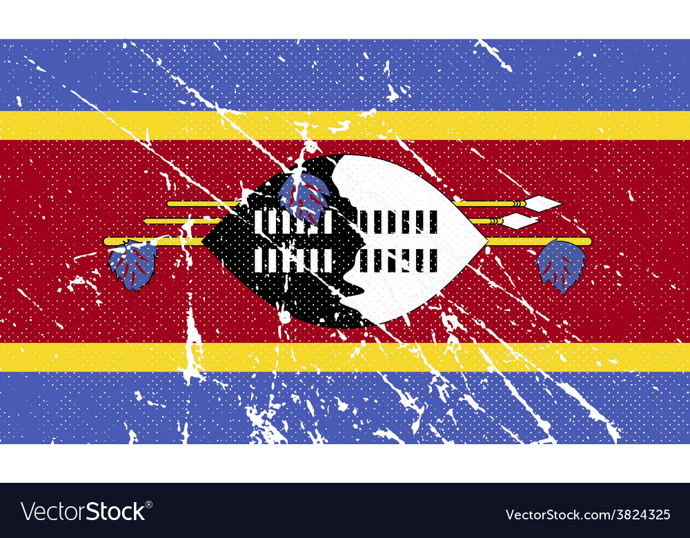 Flag of swaziland with old texture vector | Price: 1 Credit (USD $1)
