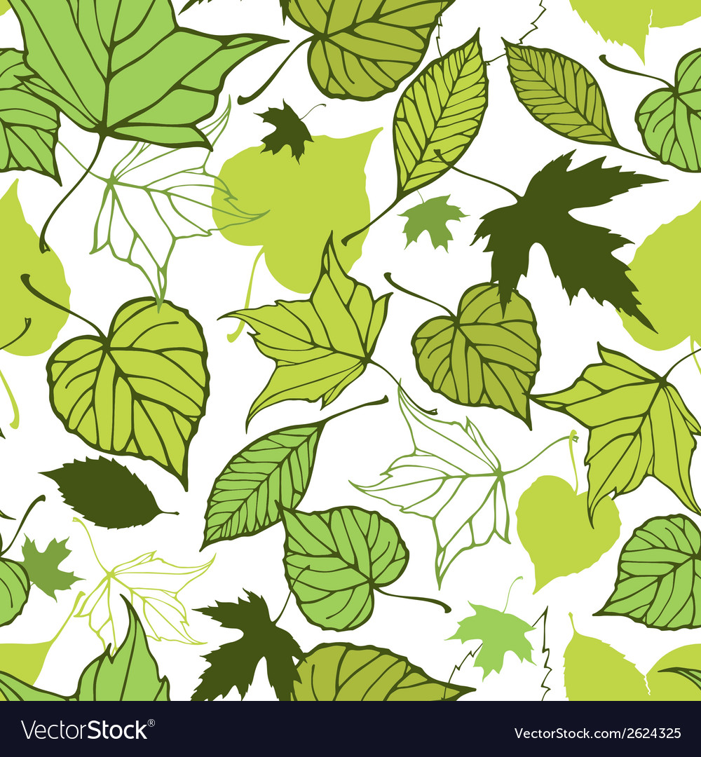 Seamless pattern with stylized decorative leaves vector | Price: 1 Credit (USD $1)