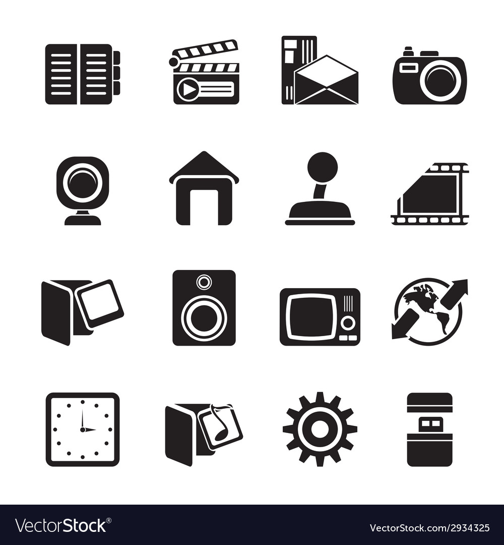 Silhouette computer and mobile phone icons vector | Price: 1 Credit (USD $1)