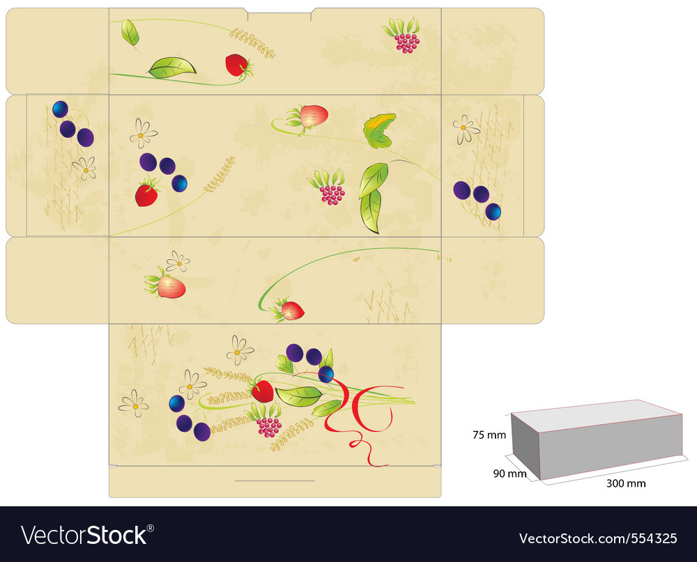 Template for box with flowers and berry vector | Price: 1 Credit (USD $1)