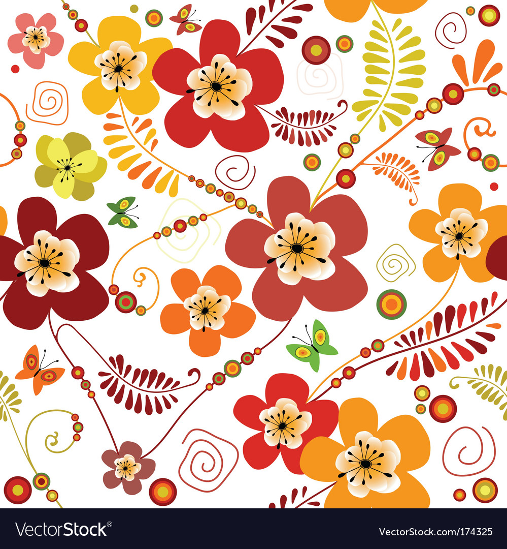 Vivid seamless floral pattern vector | Price: 1 Credit (USD $1)