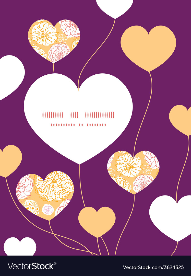Warm day flowers heart symbol frame pattern vector | Price: 1 Credit (USD $1)