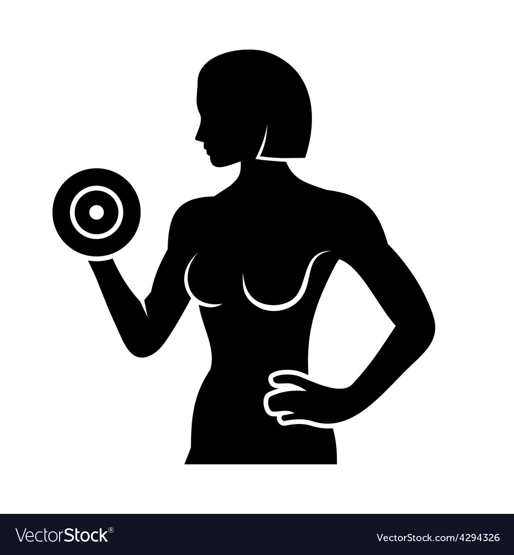 Athletic woman silhouette pumping up muscles with vector | Price: 1 Credit (USD $1)
