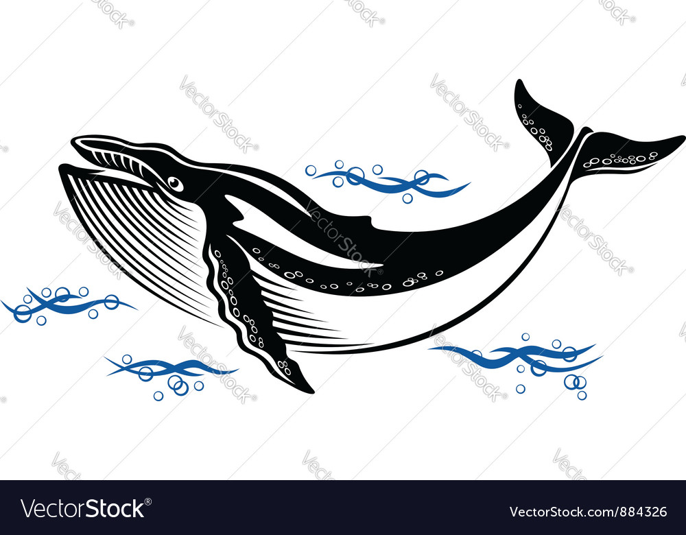 Big wild whale in ocean water vector | Price: 1 Credit (USD $1)