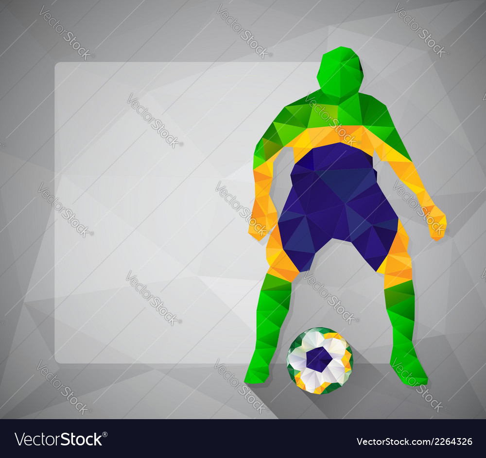 Brazilian football player with ball in triangles5 vector | Price: 1 Credit (USD $1)