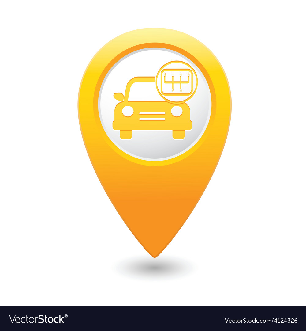 Cars transmission map pointer yellow vector | Price: 1 Credit (USD $1)