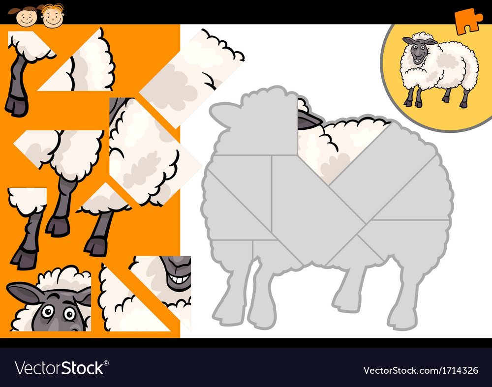 Cartoon farm sheep puzzle game vector | Price: 1 Credit (USD $1)