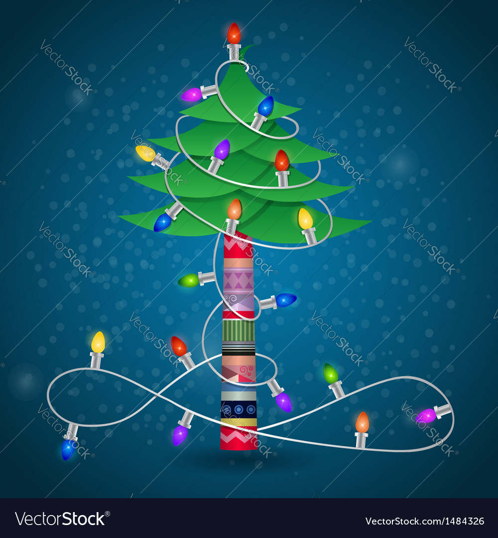 Christmas tree with garland winter postcard vector | Price: 1 Credit (USD $1)