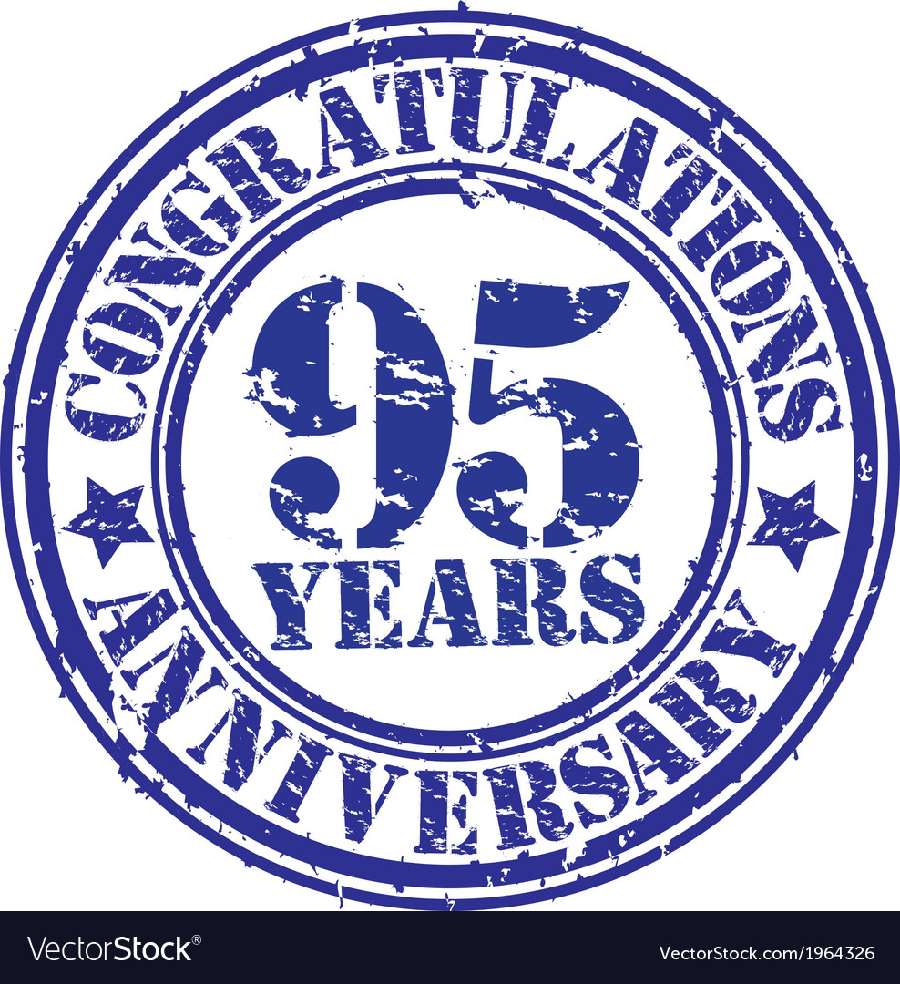 Cogratulations 95 years anniversary grunge rubber vector | Price: 1 Credit (USD $1)