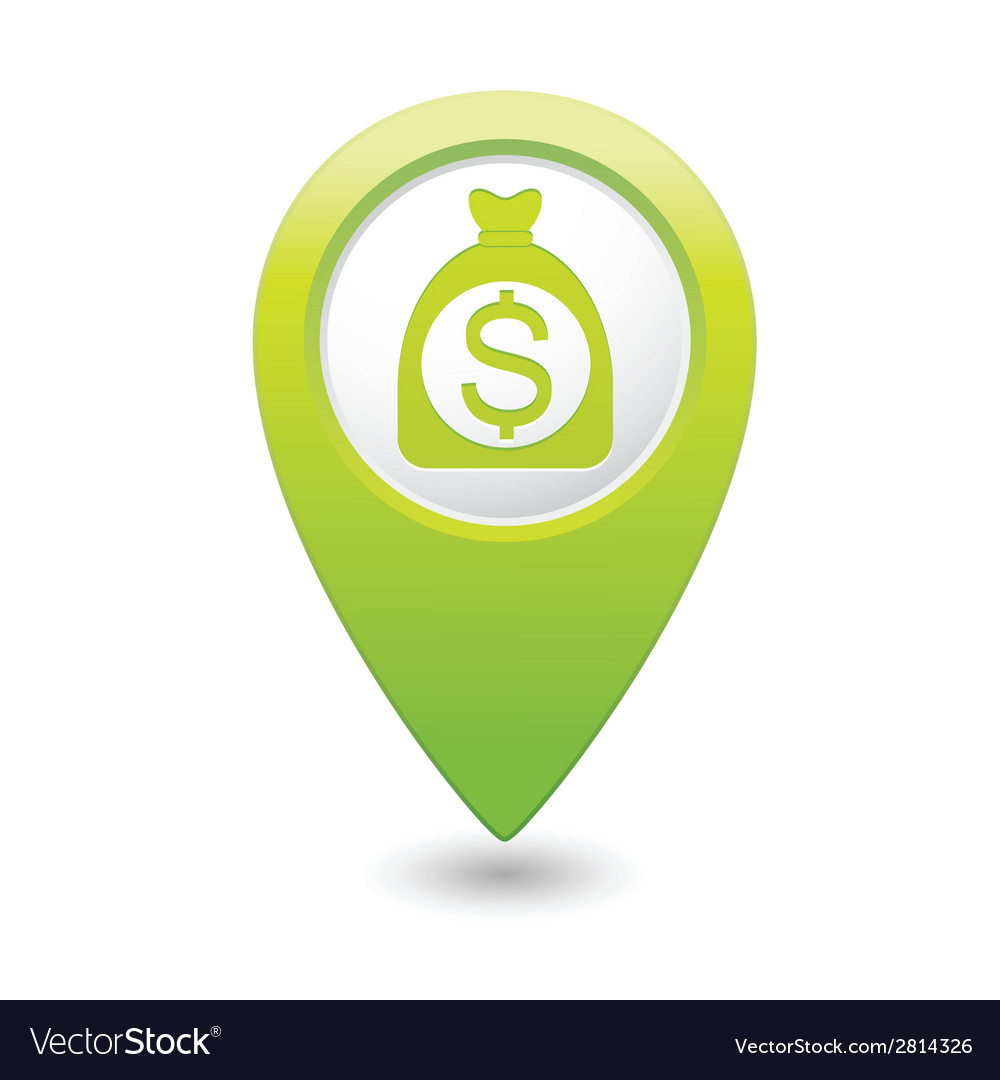 Dollar in bag icon green map pointer vector   Price: 1 Credit (USD $1)