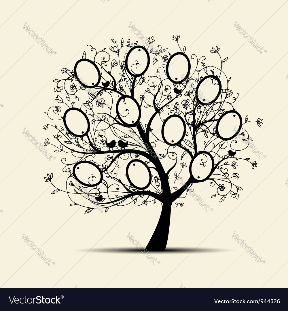 Family tree design insert your photos into frames vector | Price: 1 Credit (USD $1)