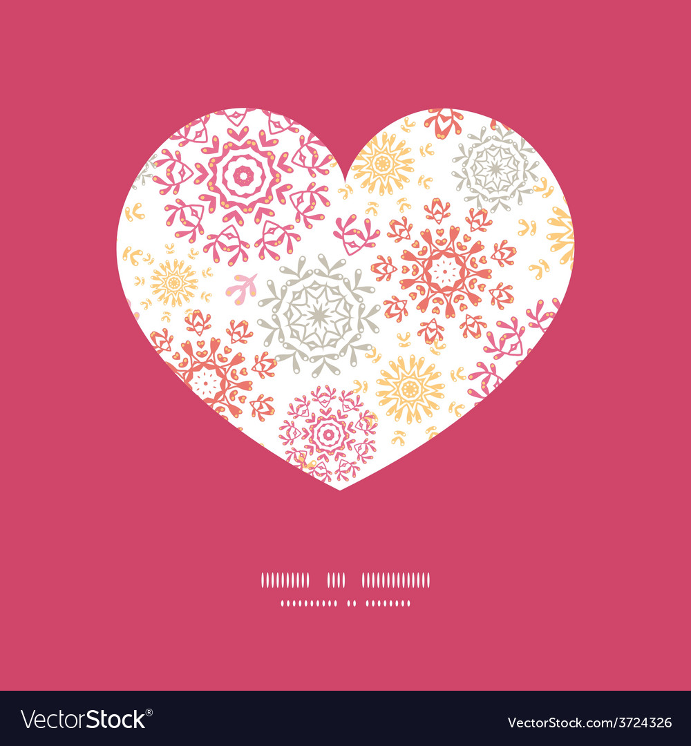 Folk floral circles abstract heart vector | Price: 1 Credit (USD $1)