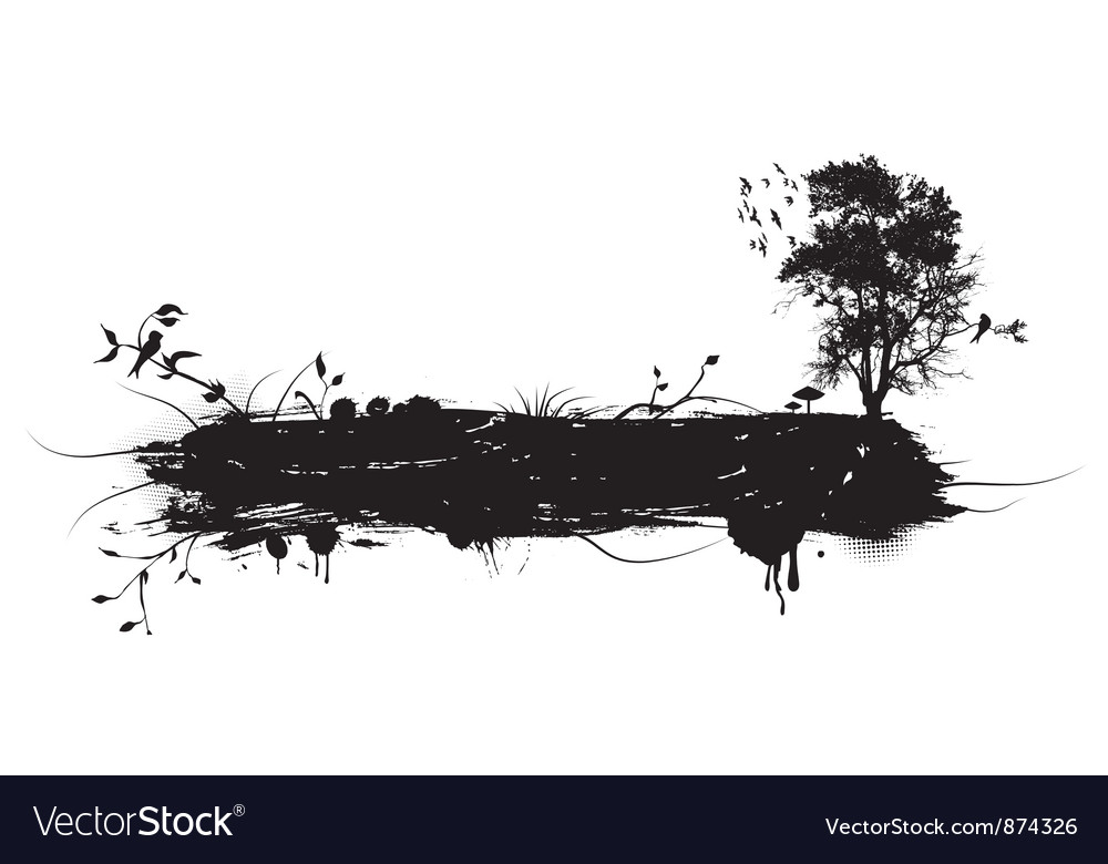 Grunge with tree and birds vector | Price: 1 Credit (USD $1)