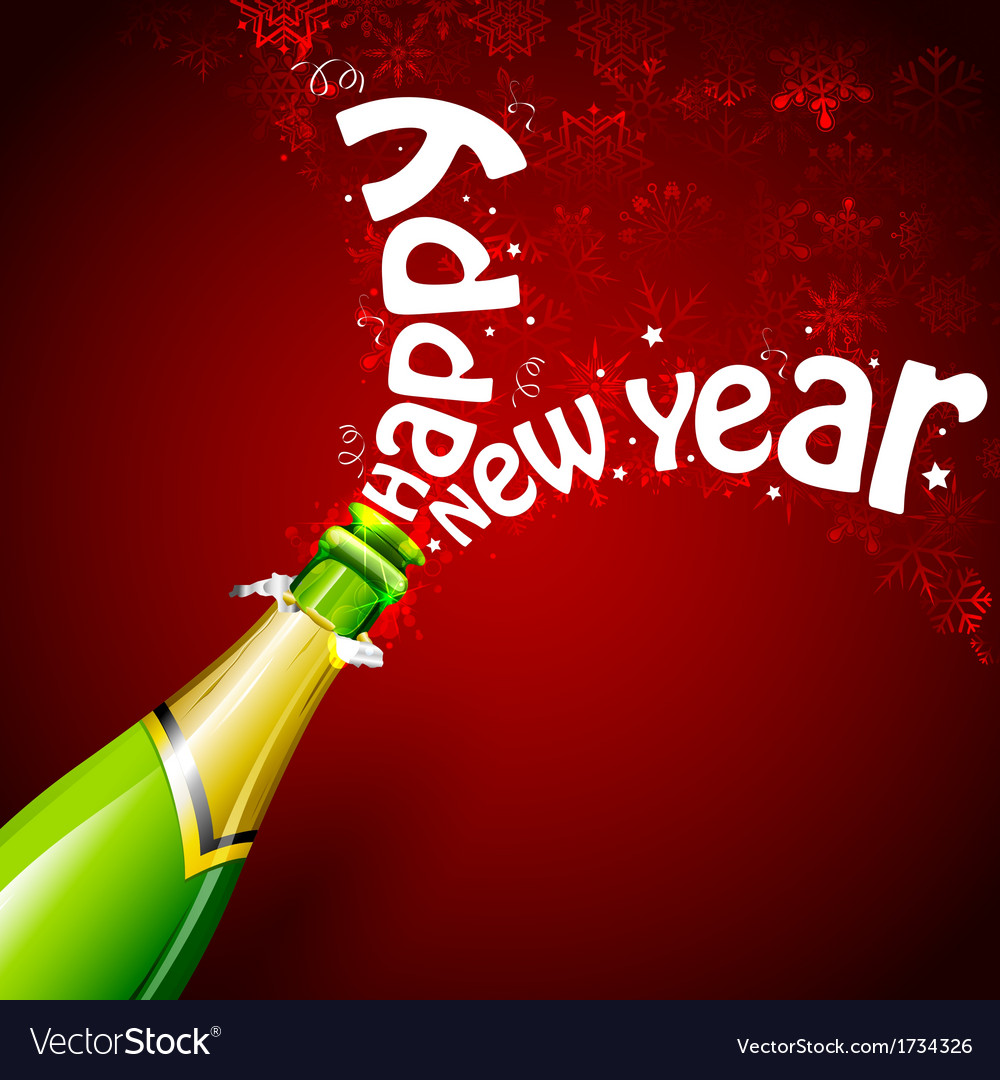 Happy new year with champagne vector | Price: 1 Credit (USD $1)