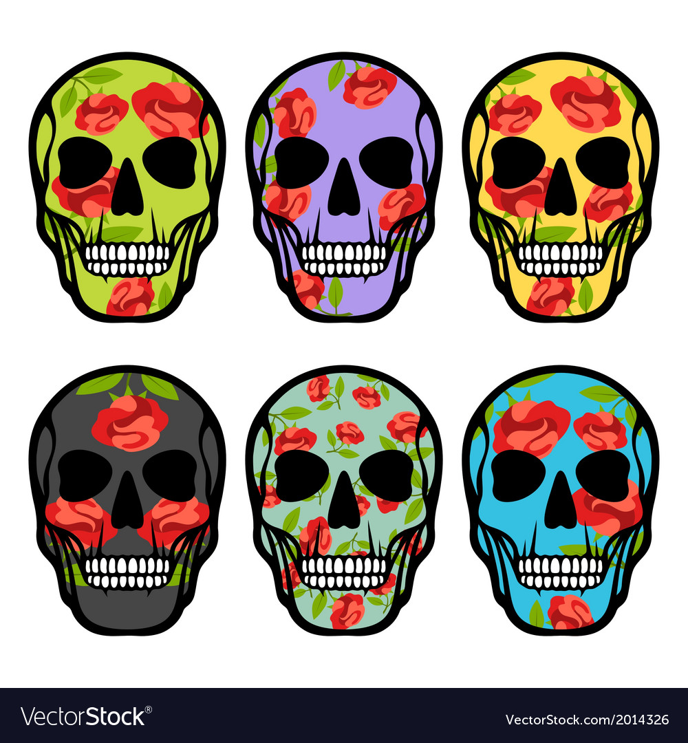 Set of skulls with flowers vector | Price: 1 Credit (USD $1)