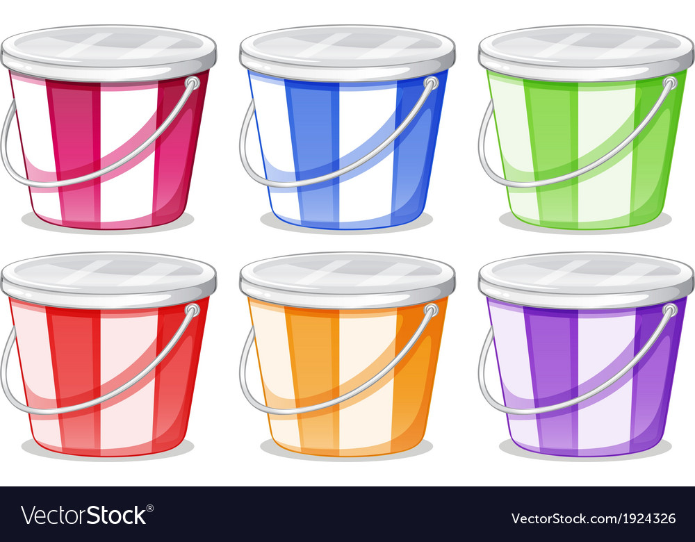 Six colorful pails vector | Price: 3 Credit (USD $3)
