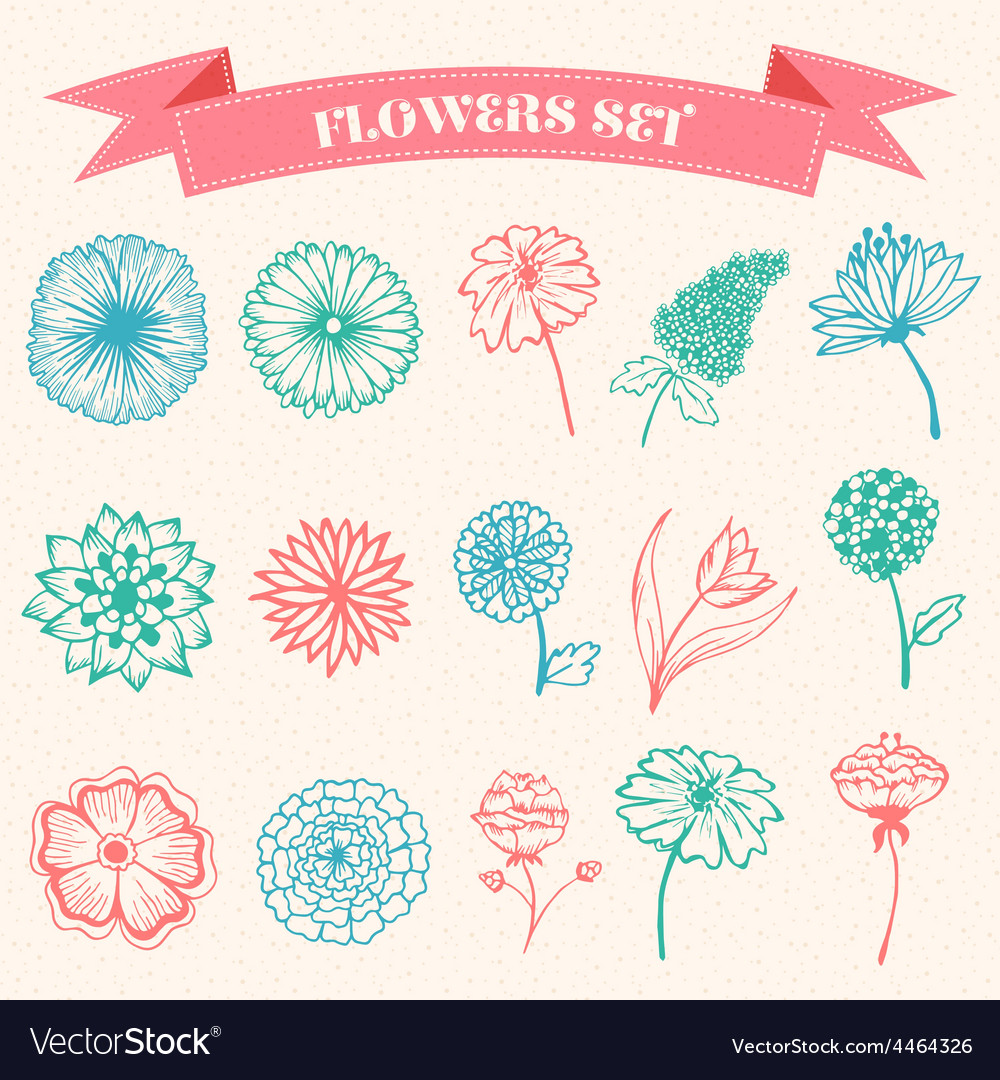 Stylish beautiful flower set on blurred vector
