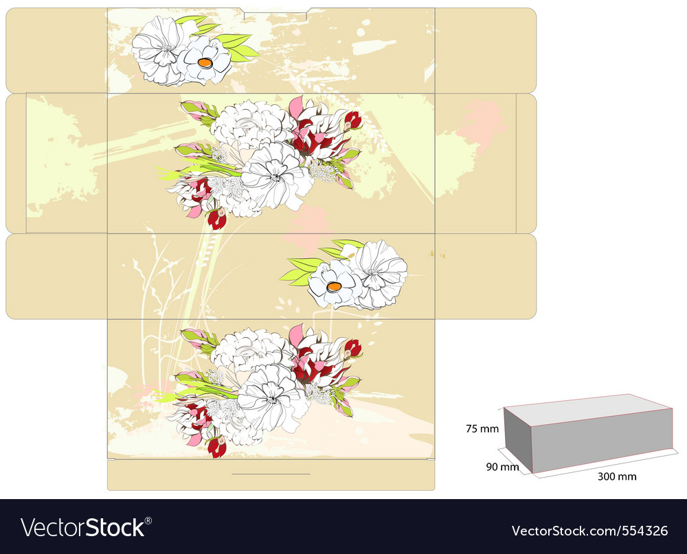 Template for box with flowers vector | Price: 1 Credit (USD $1)