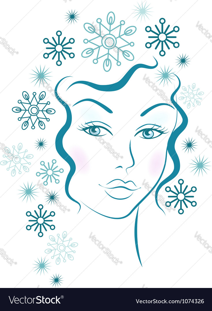 Winter girl with blue snowflakes hair vector | Price:  Credit (USD $)