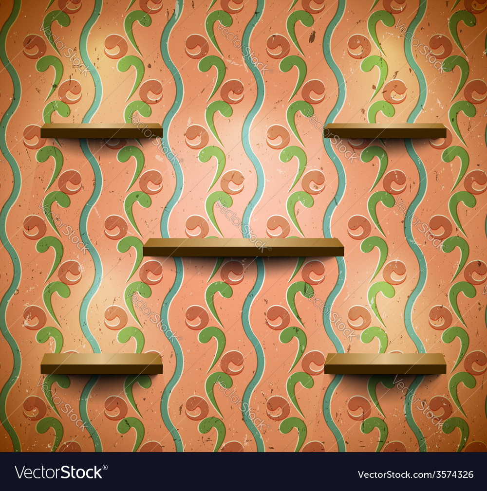 Wooden shelves in retro room vector | Price: 1 Credit (USD $1)