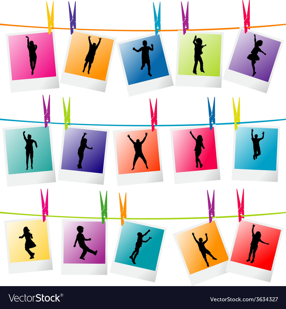 Colorful photo frames with children silhouettes vector | Price: 1 Credit (USD $1)
