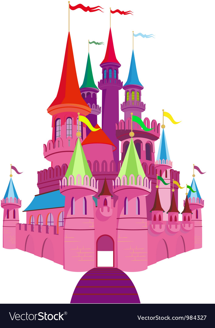 Fairy-tale pink castle vector | Price: 1 Credit (USD $1)