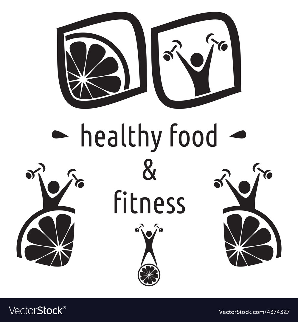Healthy food and fitness symbols vector | Price: 1 Credit (USD $1)