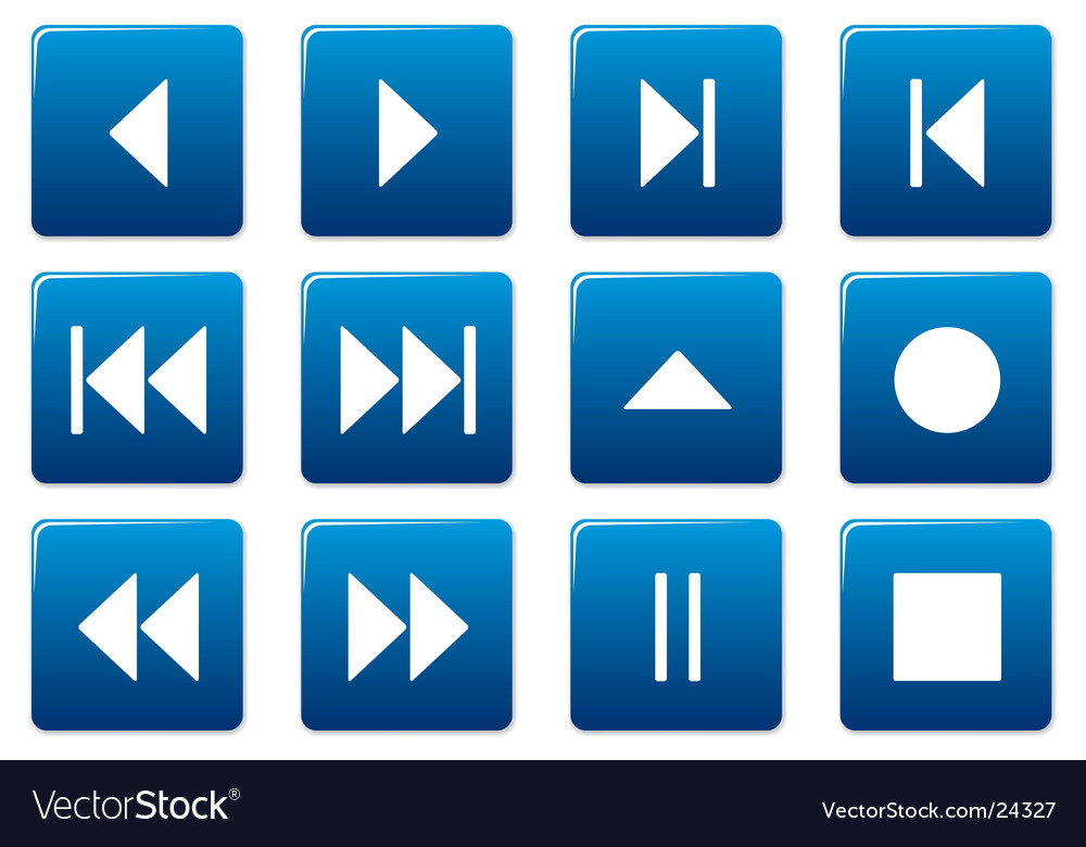 Media square icons vector