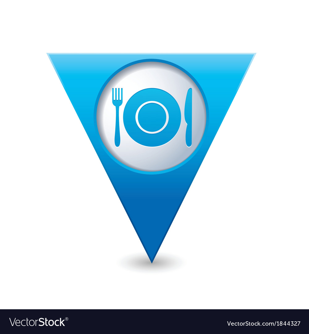Restaurant icon map pointer blue vector | Price: 1 Credit (USD $1)