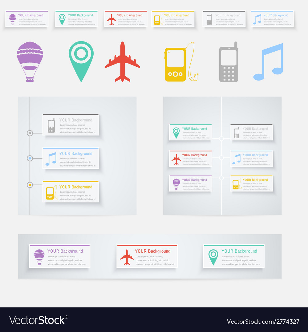 Timeline infographic with diagrams and text vector | Price: 1 Credit (USD $1)