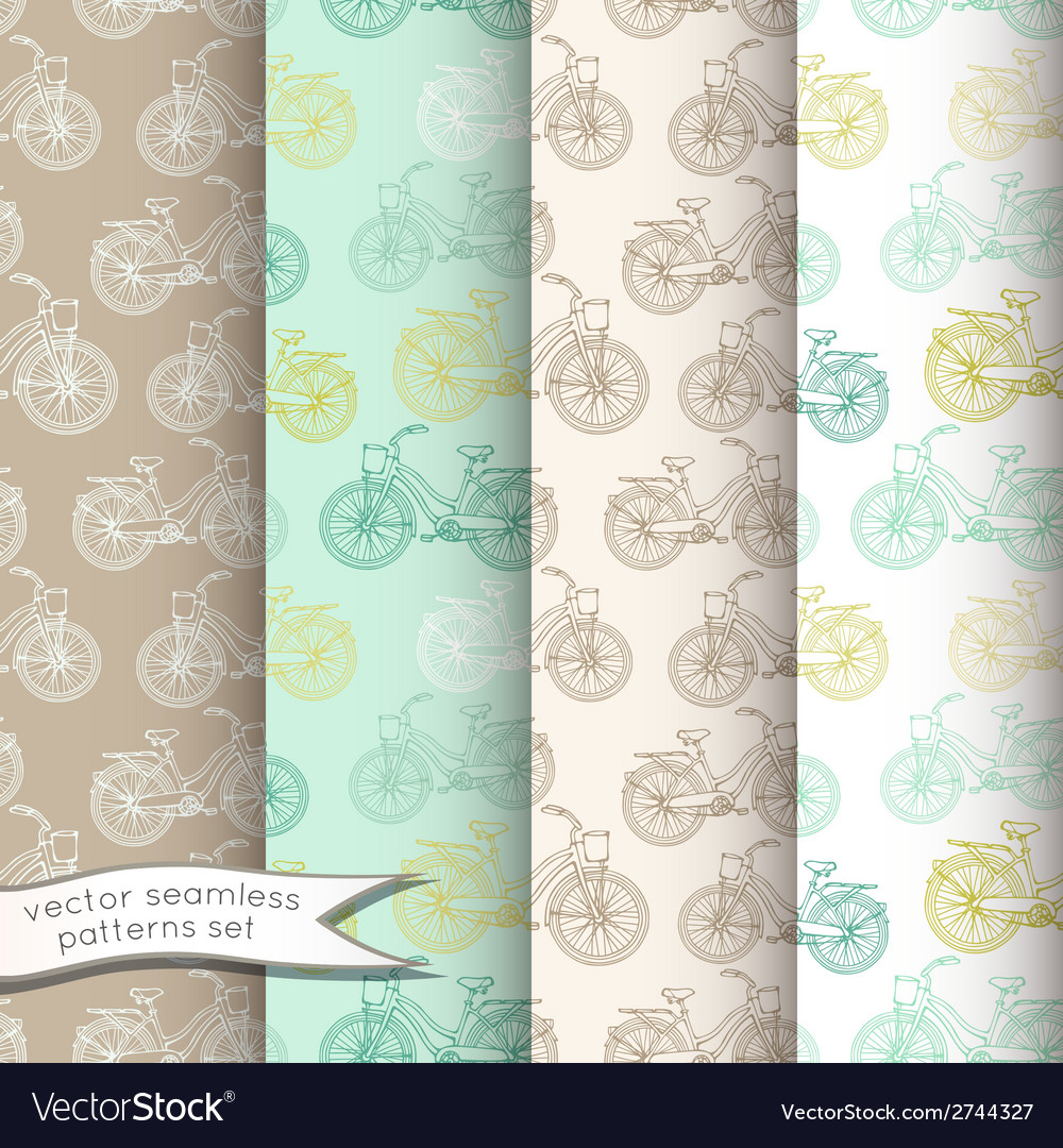 Vintage bicycles seamless patterns set vector | Price: 1 Credit (USD $1)