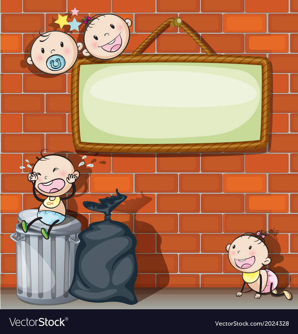A hanging empty signboard with infants vector | Price: 3 Credit (USD $3)