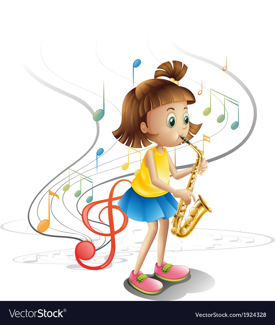 A talented child with a saxophone vector | Price: 3 Credit (USD $3)