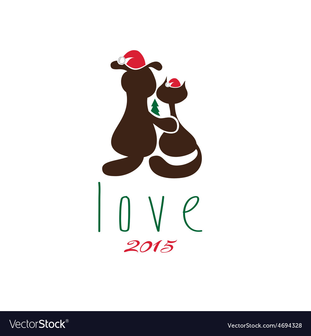 Cat and dog in merry christmas hat and pine vector | Price: 1 Credit (USD $1)