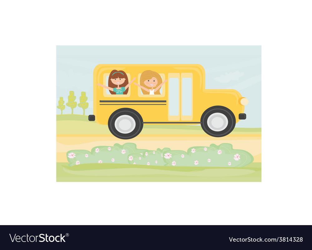 Children in school bus vector | Price: 1 Credit (USD $1)