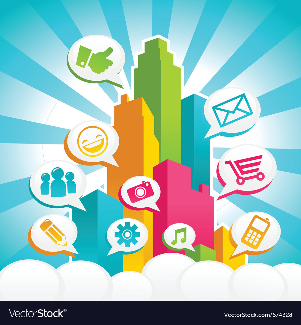 Colorful media city vector | Price: 3 Credit (USD $3)