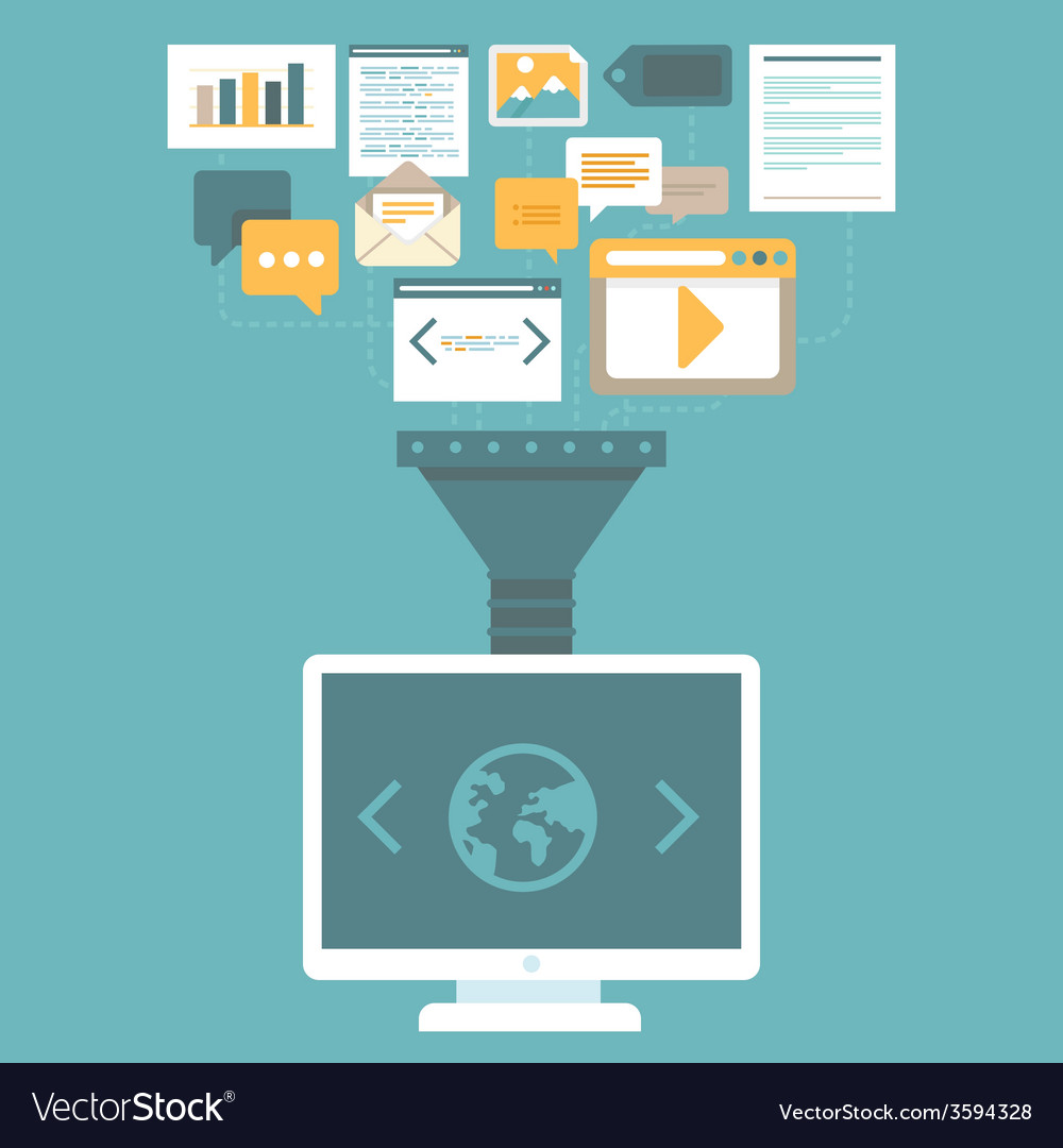Digital marketing concept in flat style vector