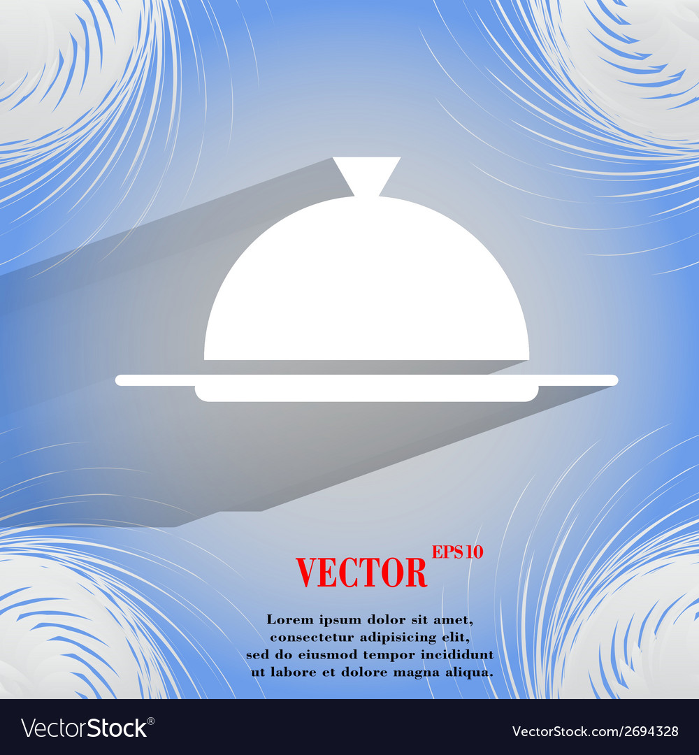 Restaurant cloche flat modern web buttonon a flat vector | Price: 1 Credit (USD $1)
