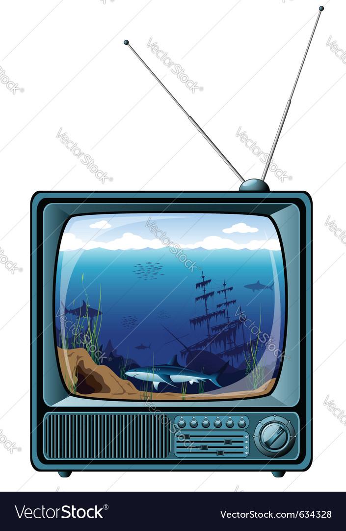 Retro tv with sea view vector | Price: 3 Credit (USD $3)