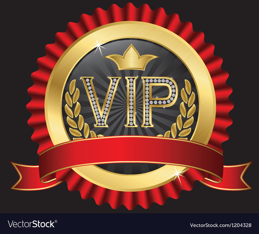 Vip golden label with diamonds and gold ribbons vector | Price: 3 Credit (USD $3)
