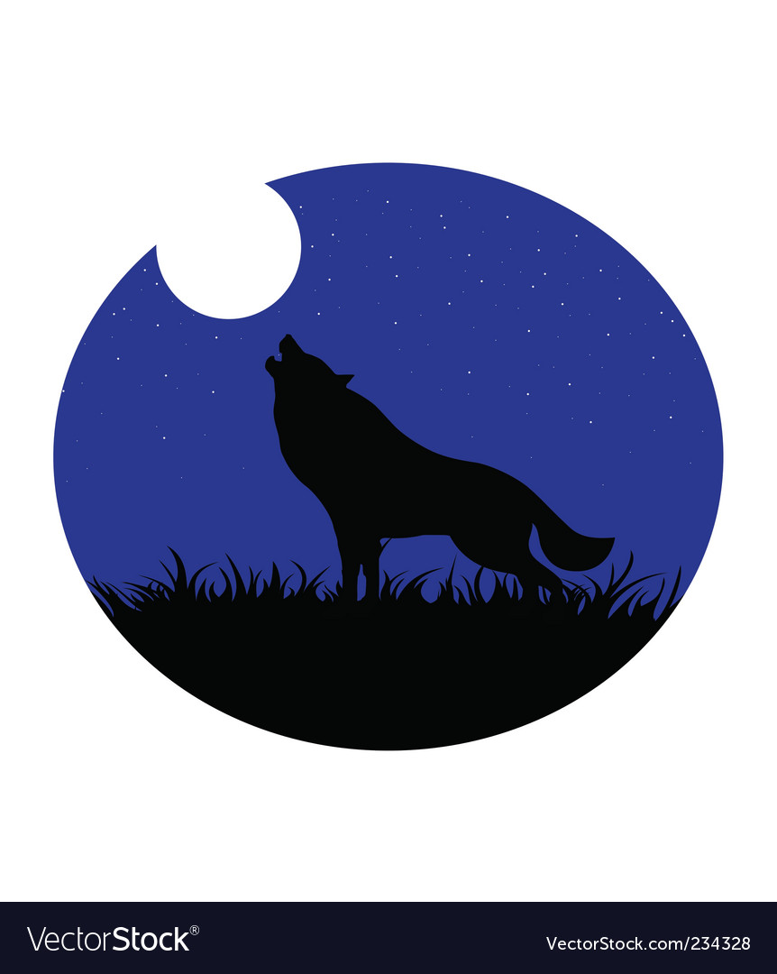 Wolf howling moon vector | Price: 1 Credit (USD $1)