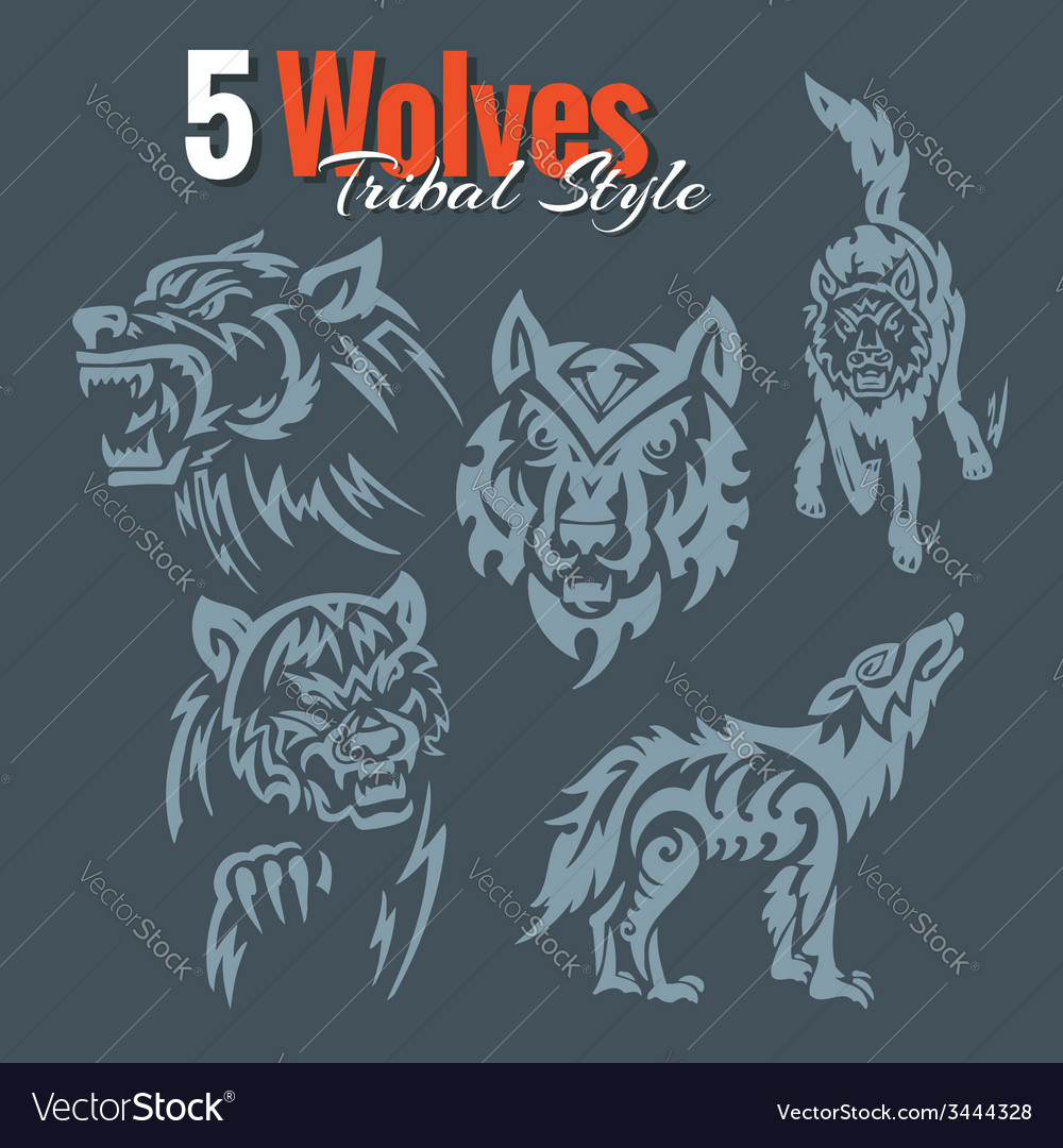 Wolves in tribal style set vector | Price: 1 Credit (USD $1)