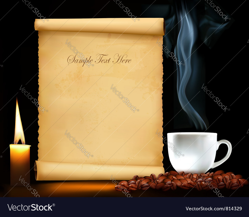 Background with old paper and cup of coffee vector | Price: 3 Credit (USD $3)