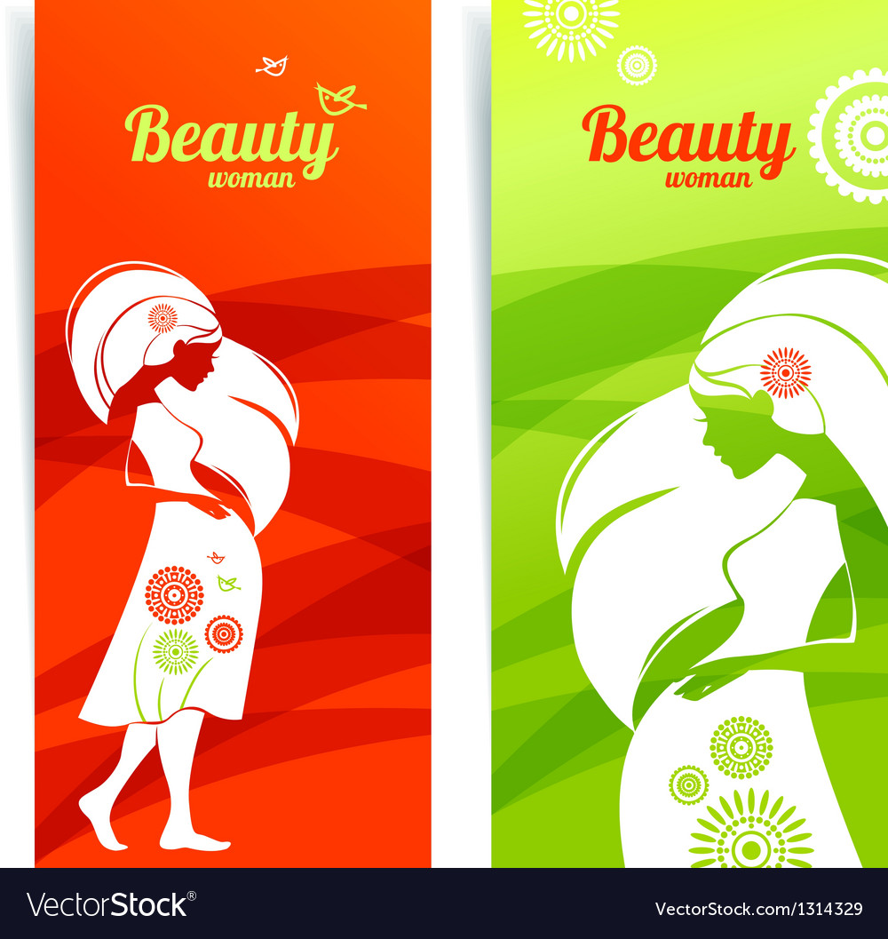 Banners with silhouette of pregnant woman vector | Price: 1 Credit (USD $1)