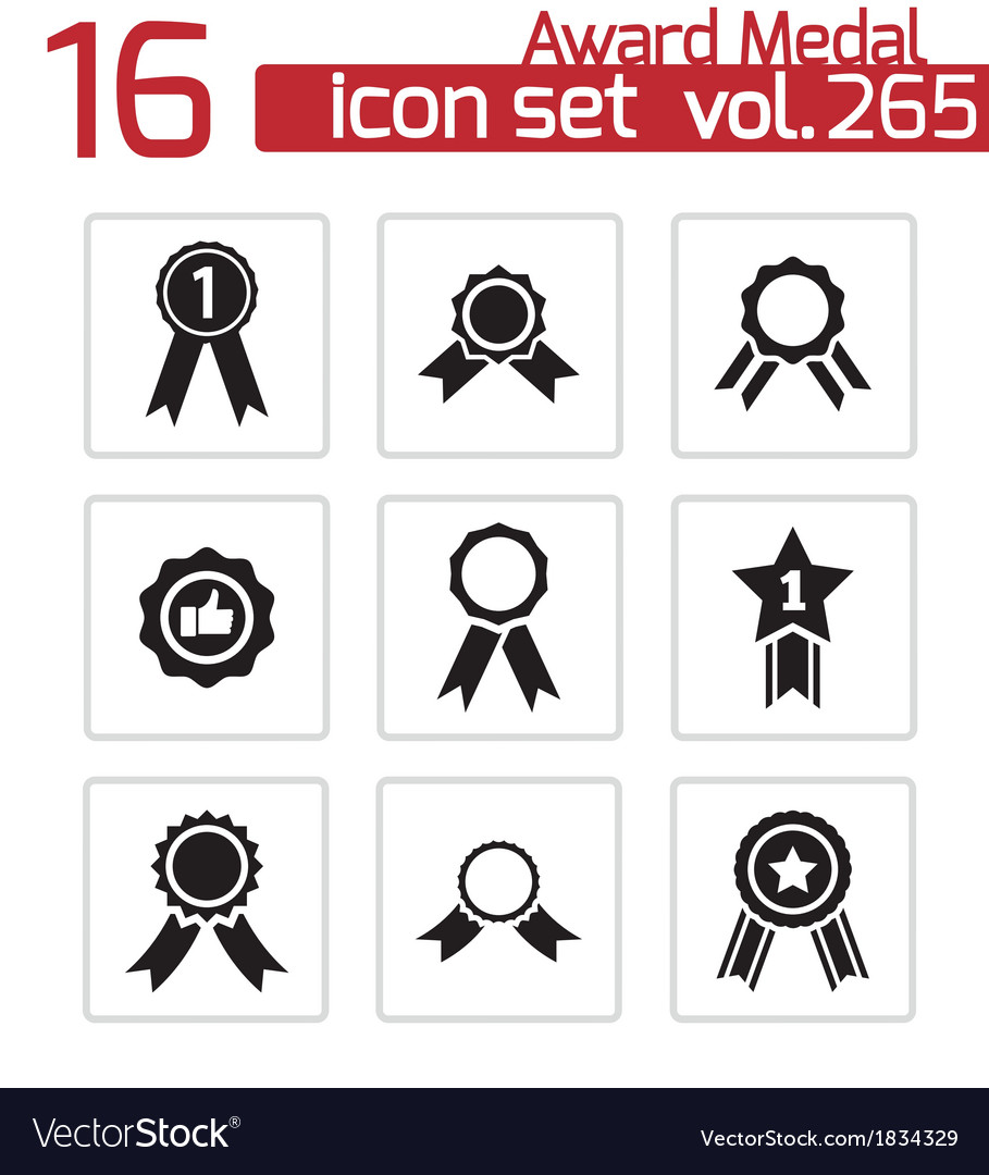 Black award medal icons set vector | Price: 1 Credit (USD $1)
