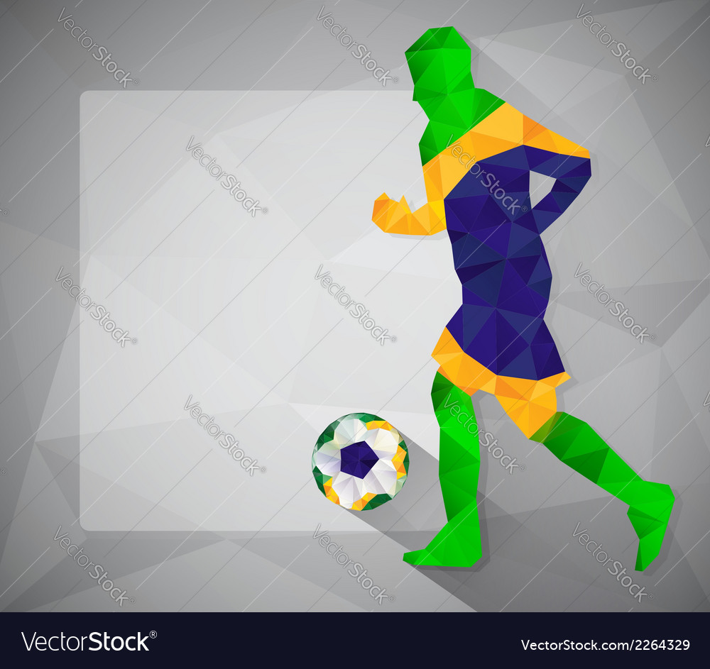 Brazilian football player with ball in triangles6 vector | Price: 1 Credit (USD $1)