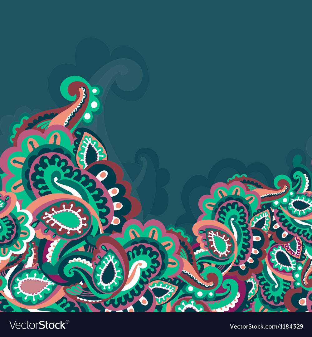 Colorful seamless paisley background vector | Price: 1 Credit (USD $1)