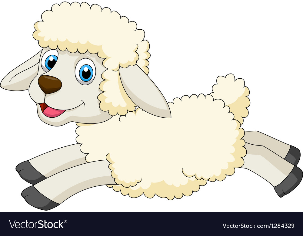 Cute sheep cartoon jumping vector | Price: 3 Credit (USD $3)