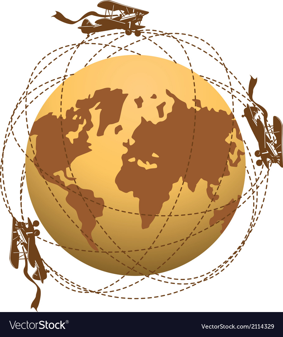 Globe and planes vector | Price: 1 Credit (USD $1)
