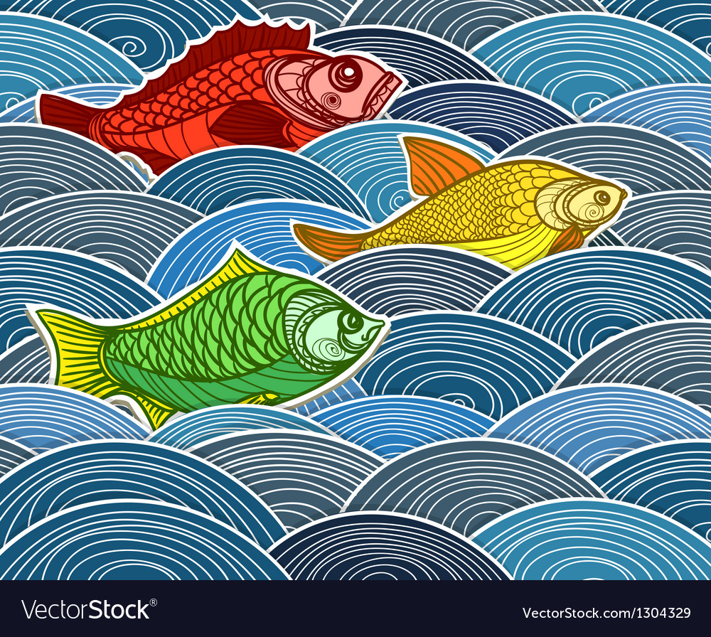 Group of fish on waves vector | Price: 1 Credit (USD $1)